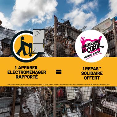 Partenariat Restos du Coeur Electrodépôt Recyclage